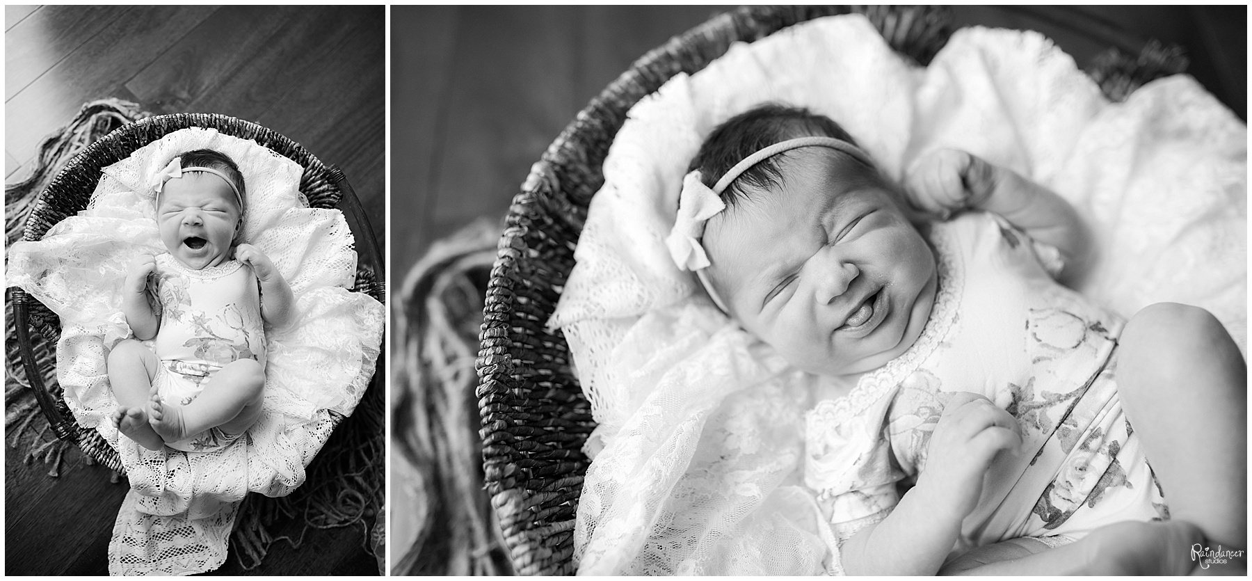 Baby girl yawns and sticks tongue out during her newborn session in Bloomington, Indiana.