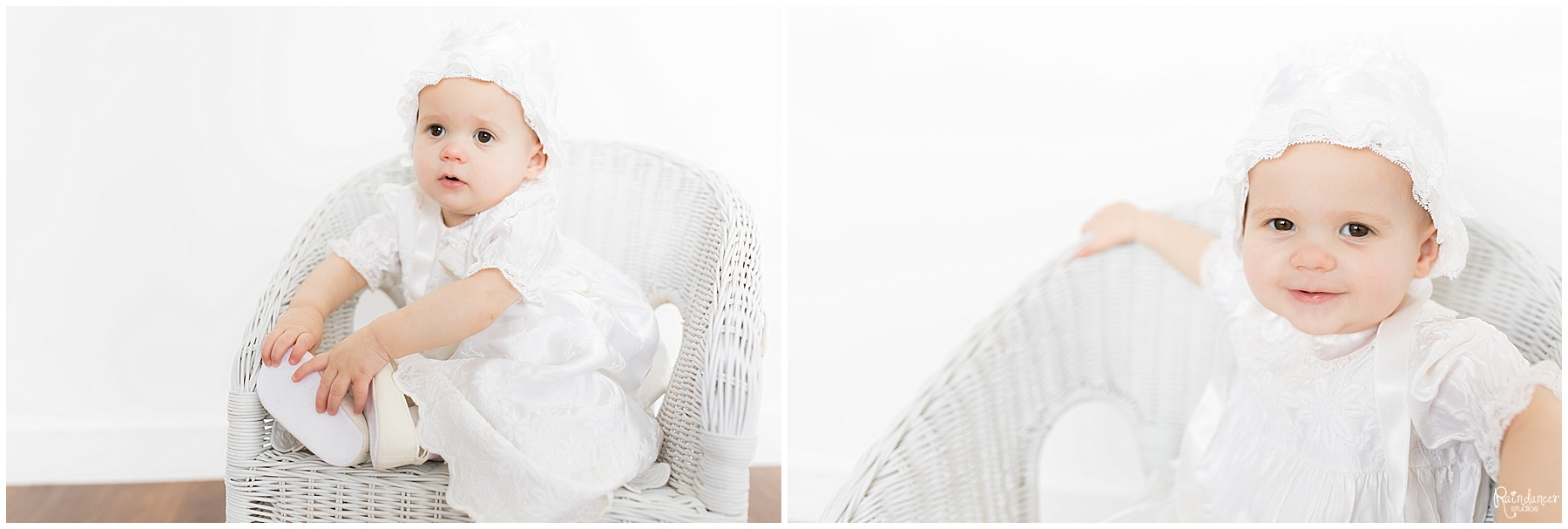 One year old baby girl in white chair and white hat by Raindancer Studios Indianapolis Children Photographer Jill Howell