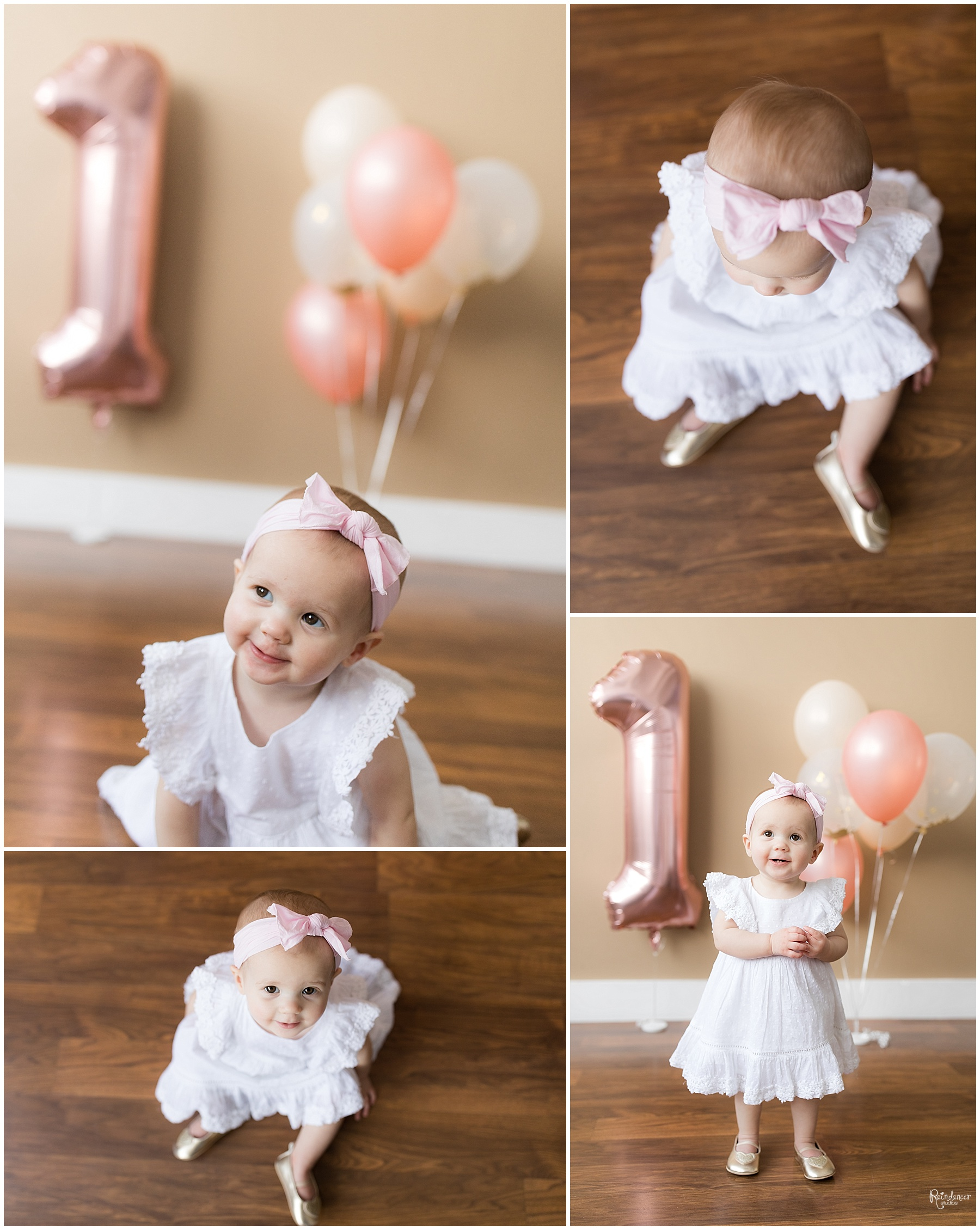 One year old baby girl with balloons by Raindancer Studios Indianapolis Children Photographer Jill Howell