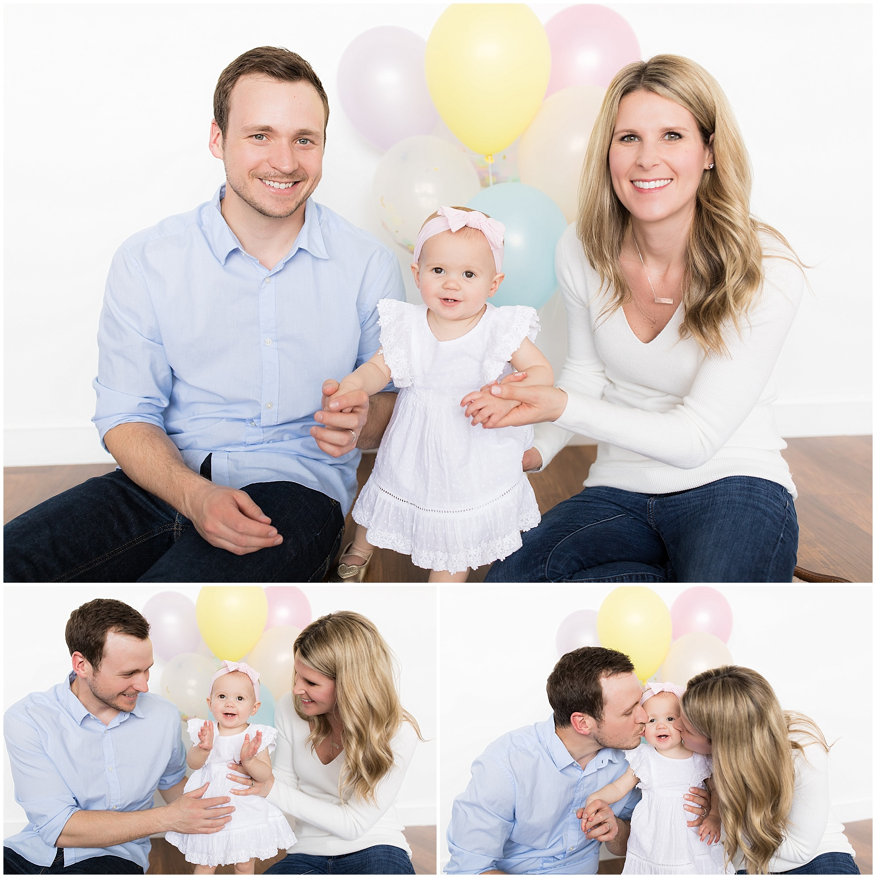 Parents and one year old daughter pose with balloons by Raindancer Studios Indianapolis Children Photographer Jill Howell