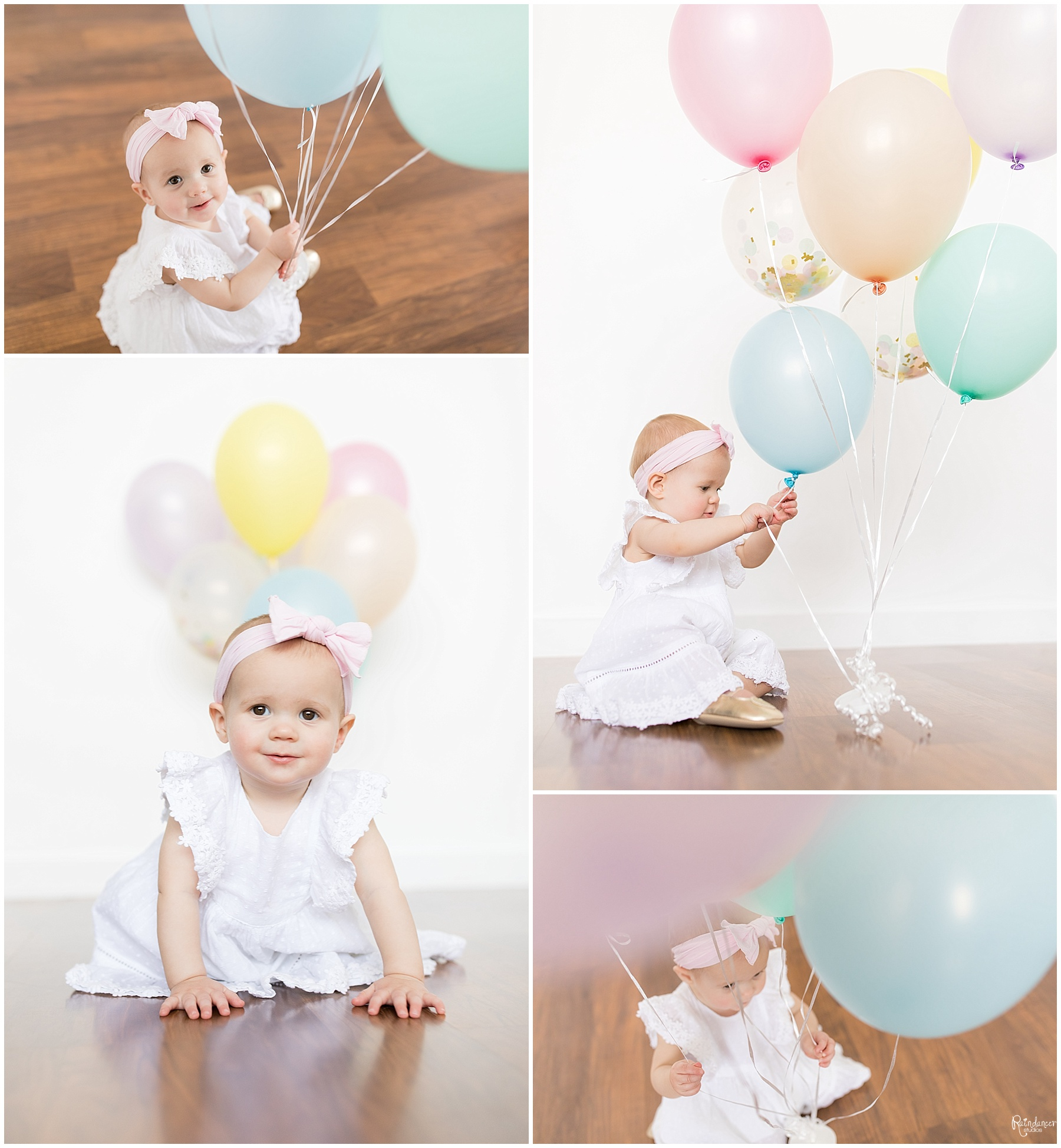 One year old baby girl playing with balloons by Raindancer Studios Indianapolis Children Photographer Jill Howell