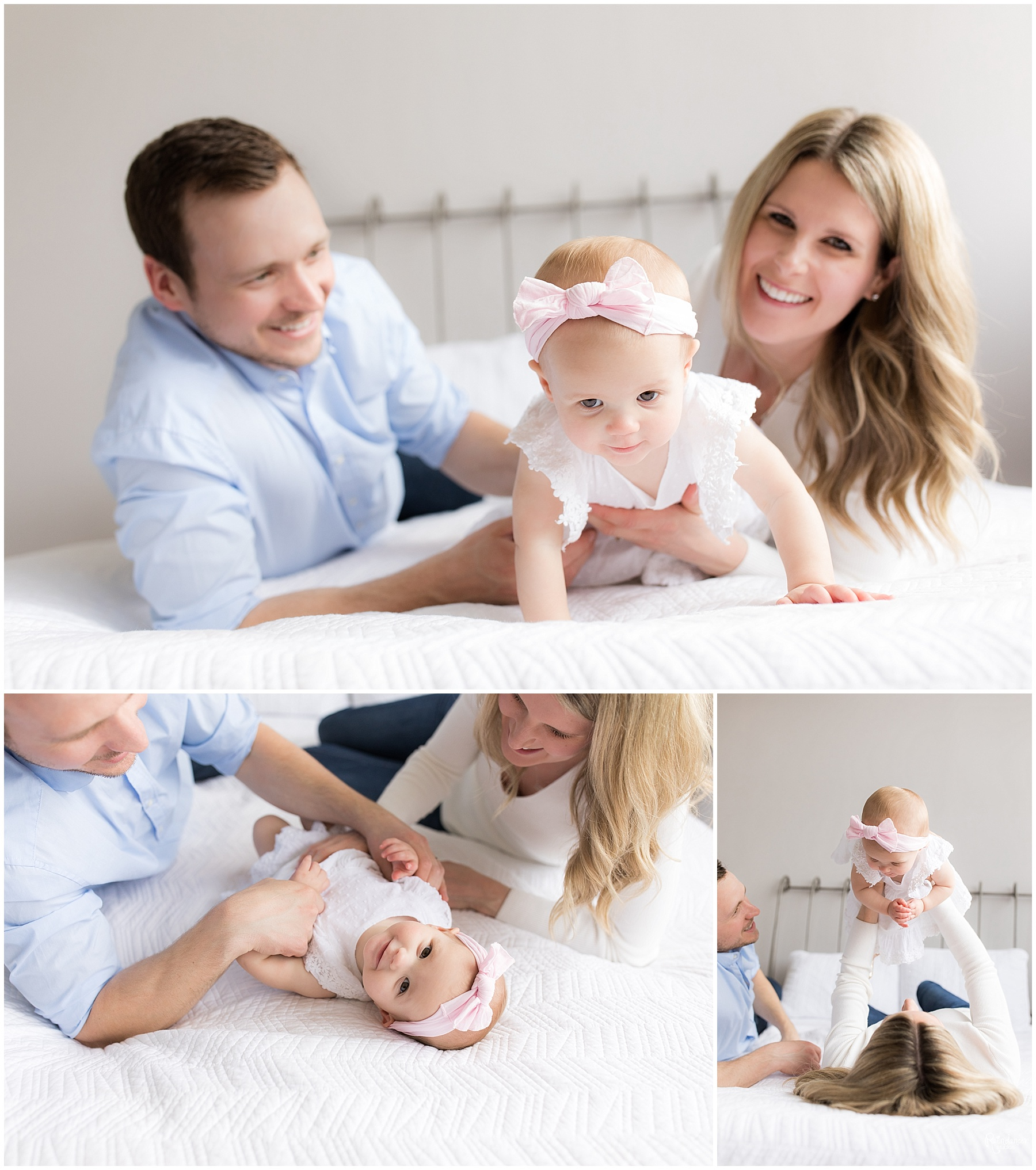 Parents and one year old daughter playing on bed by Raindancer Studios Indianapolis Children Photographer Jill Howell