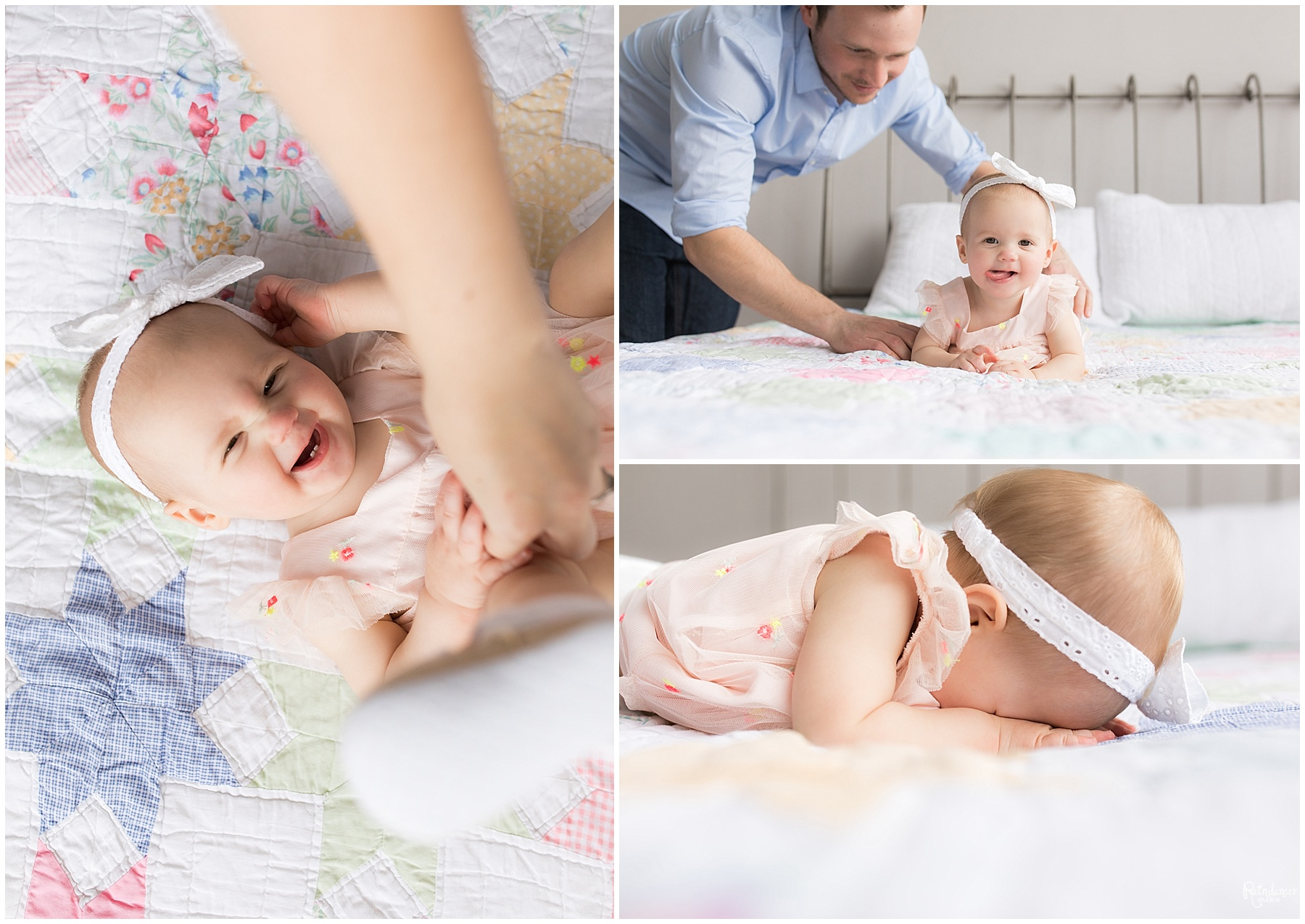 Father plays with one year old baby girl on bed by Raindancer Studios Indianapolis Children Photographer
