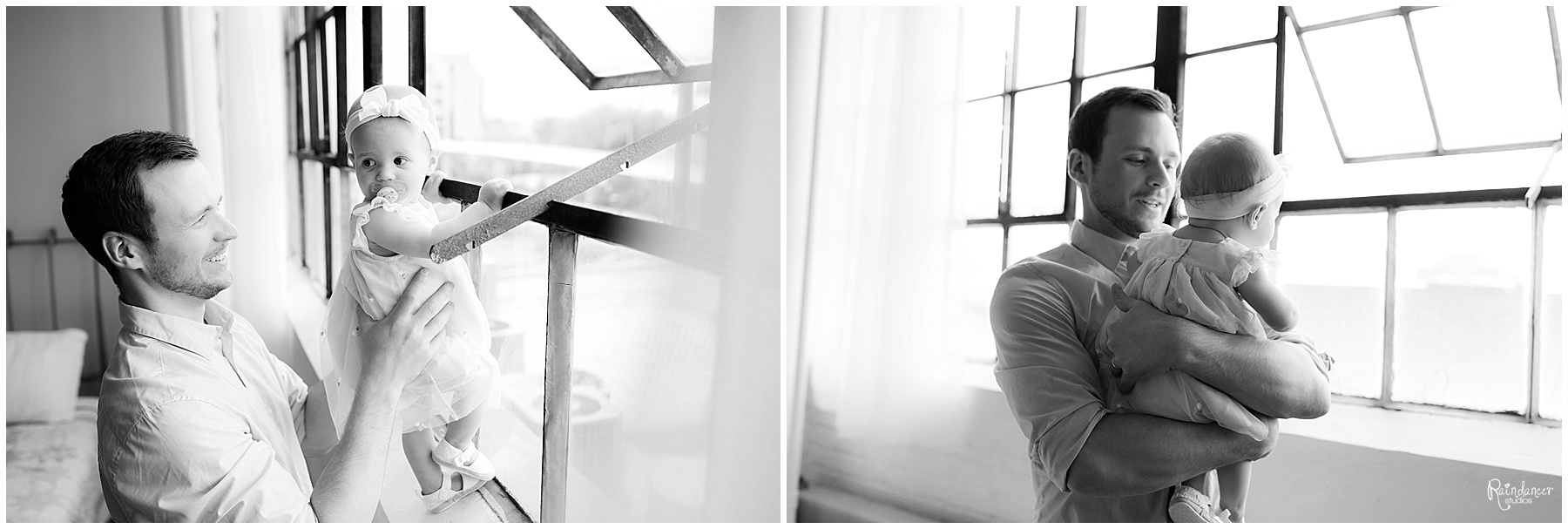 Father and one year old daughter looking out window by Raindancer Studios Indianapolis children photographer Jill Howell