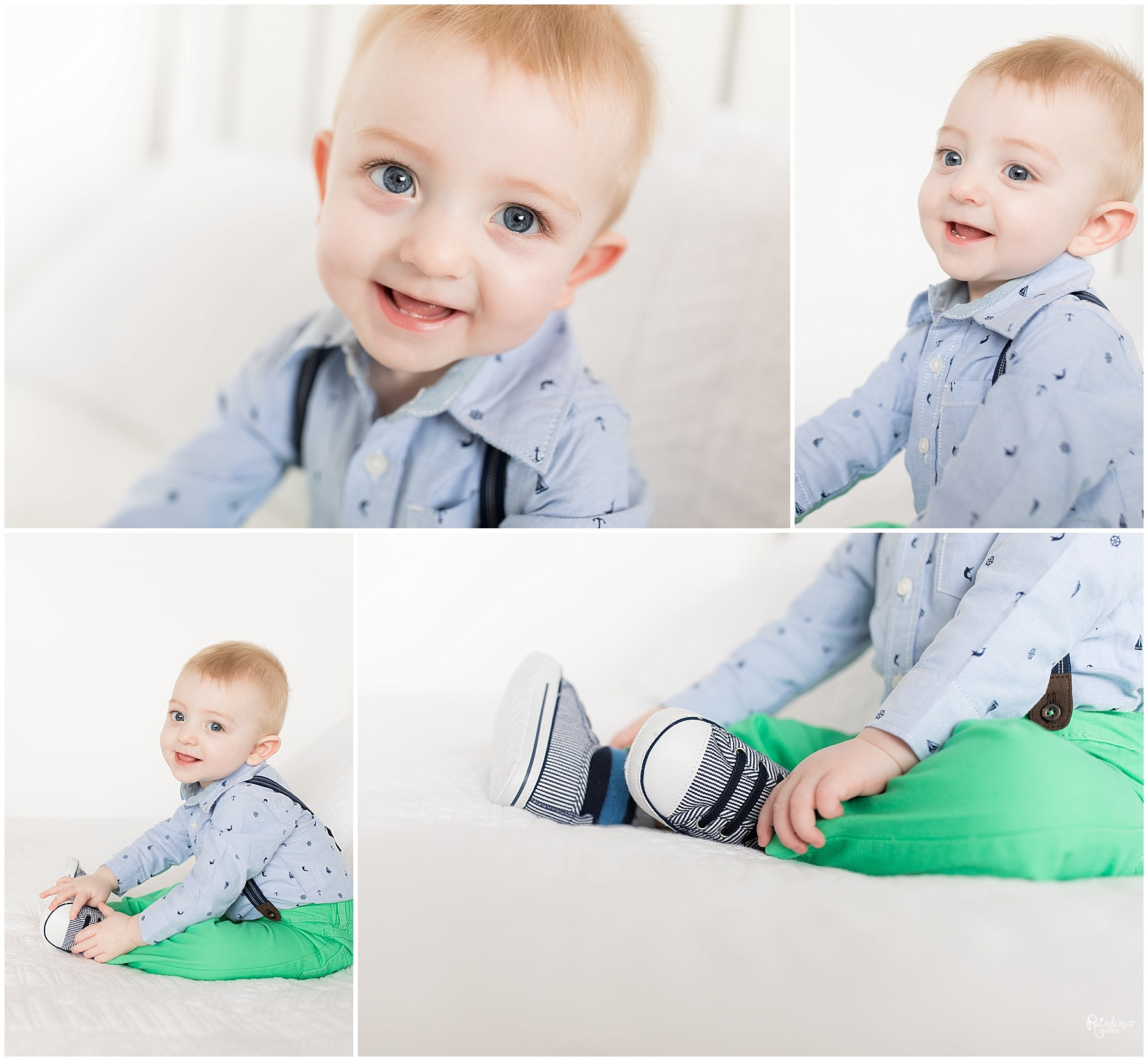 One year old boy wearing suspenders by Raindancer Studios Indianapolis Family Photographer Jill Howelll