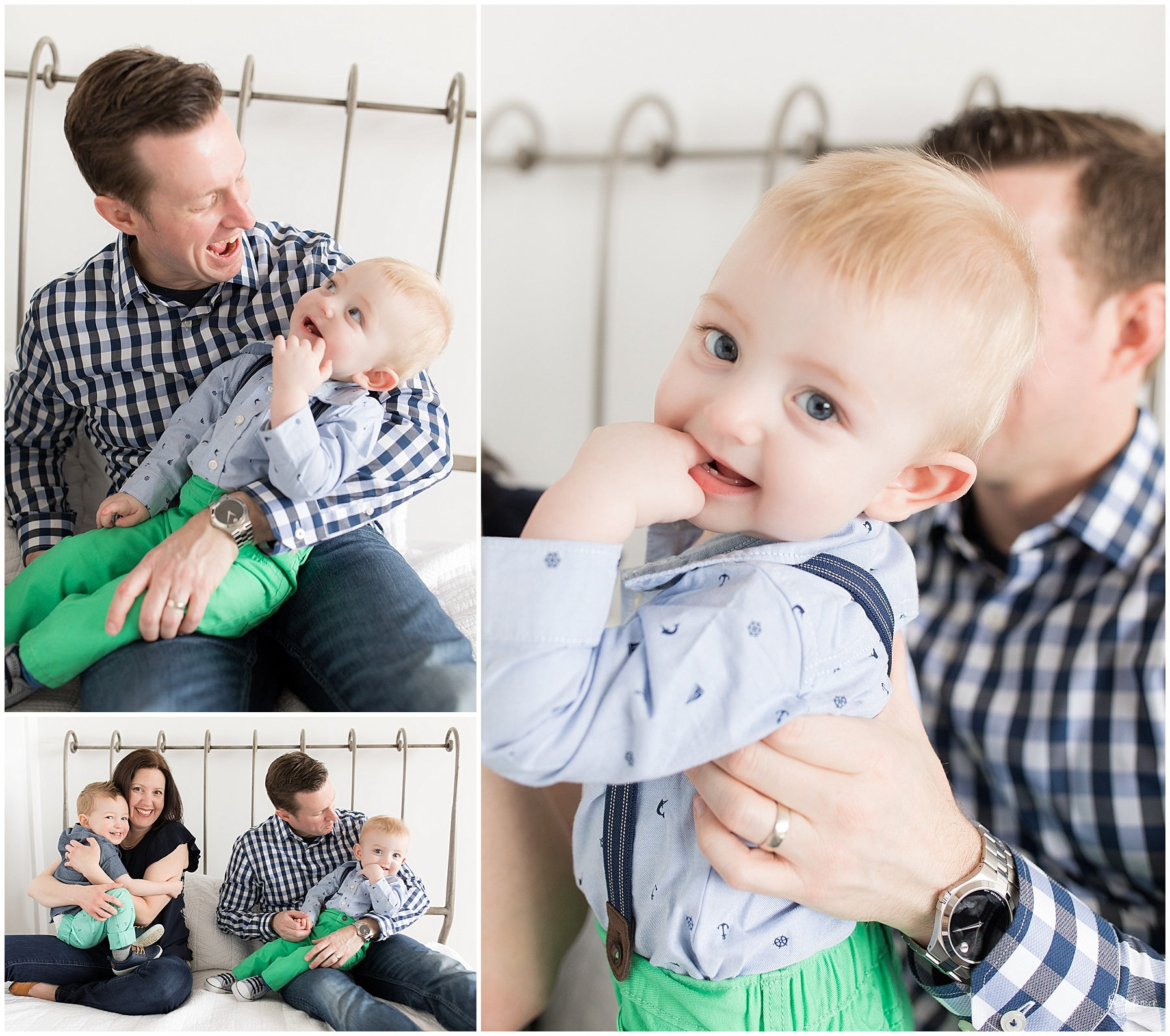 Parents and two sons sitting on bed together by Raindancer Studios Indianapolis Family Photographer Jill Howell