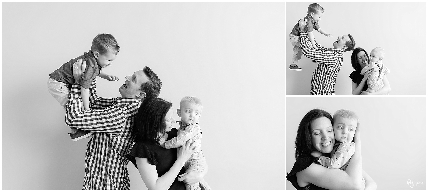 Father and mother standing and playing with their two sons by Raindancer Studios Indianapolis Family Photographer Jill Howelll