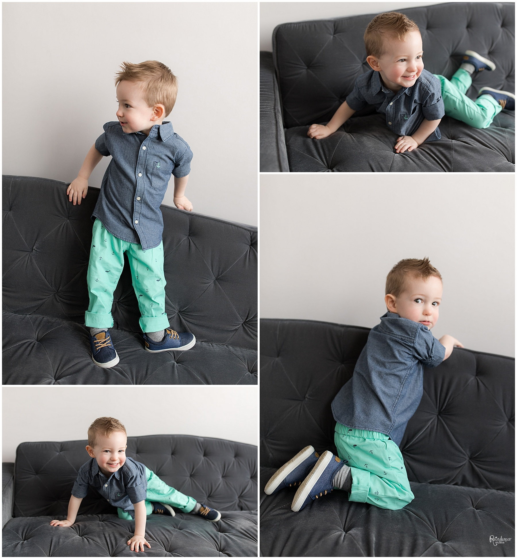 Young boy playing and laying on a couch by Raindancer Studios Indianapolis Family Photographer Jill Howelll