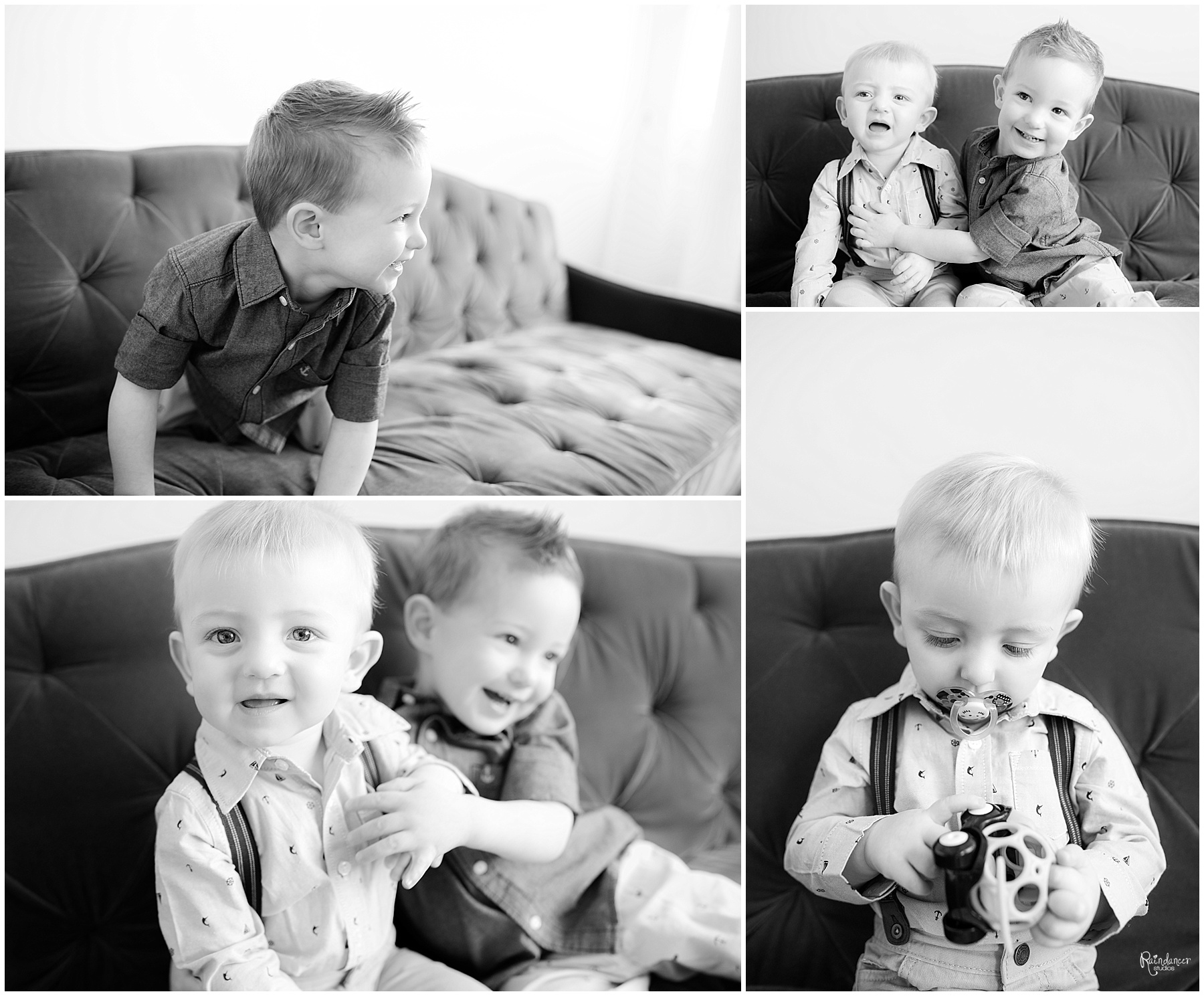 Two brothers playing together on a couch by Raindancer Studios Indianapolis Family Photographer Jill Howell