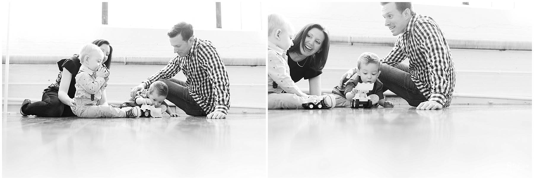 Parents and their two sons playing with toys on the floor by Raindancer Studios Indianapolis Family Photographer Jill Howell