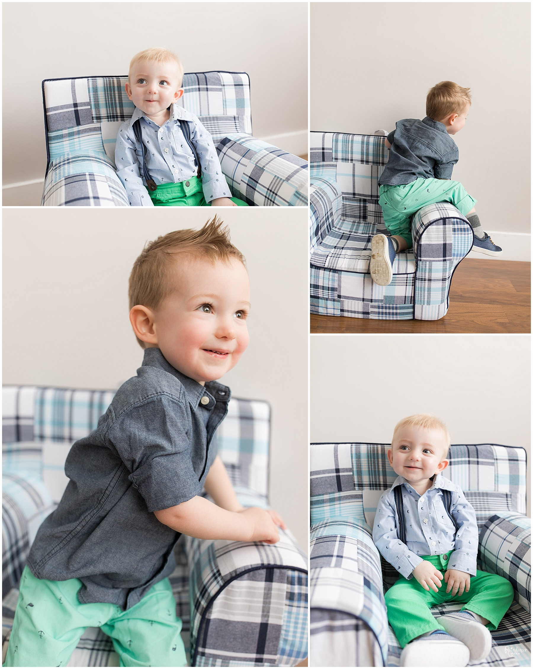 Two brothers sitting on blue chair and smiling by Raindancer Studios Indianapolis Family Photographer Jill Howell