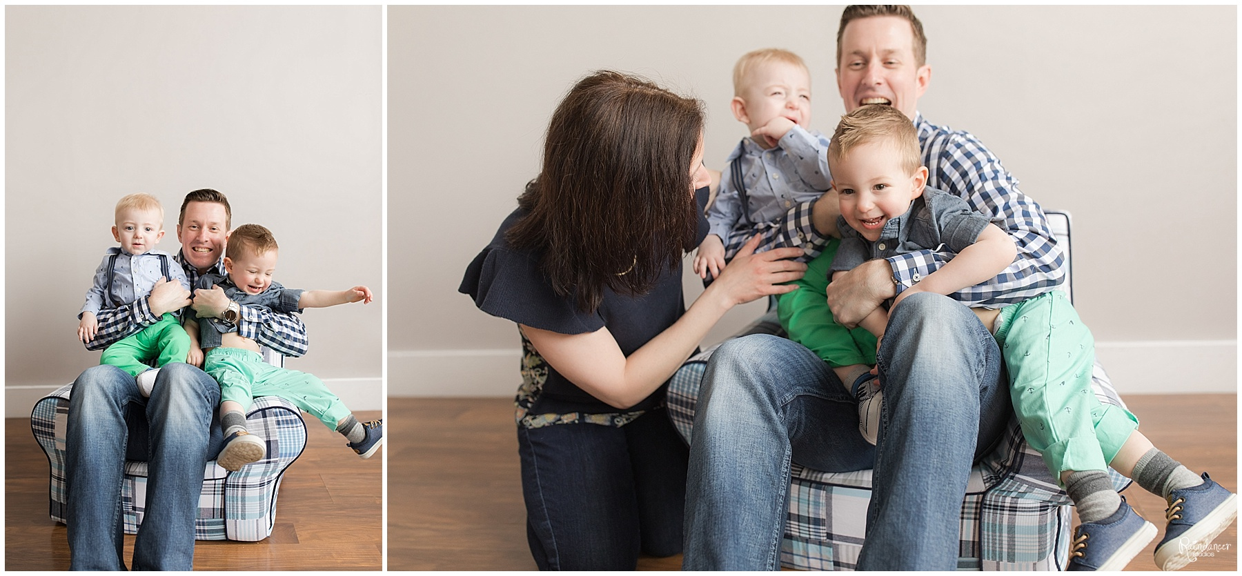 Two sons sitting with their parents in a chair and playing by Raindancer Studios Indianapolis Family Photographer Jill Howell