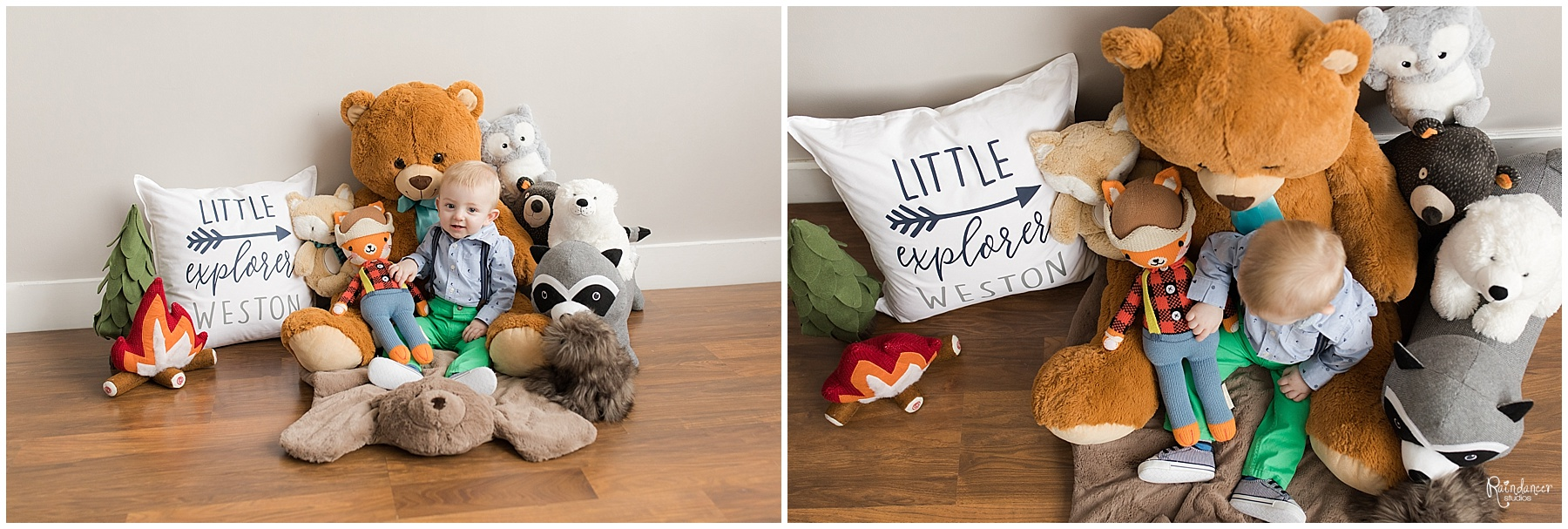 One year old son sitting with his stuffed toys by Raindancer Studios Indianapolis Family Photographer Jill Howell