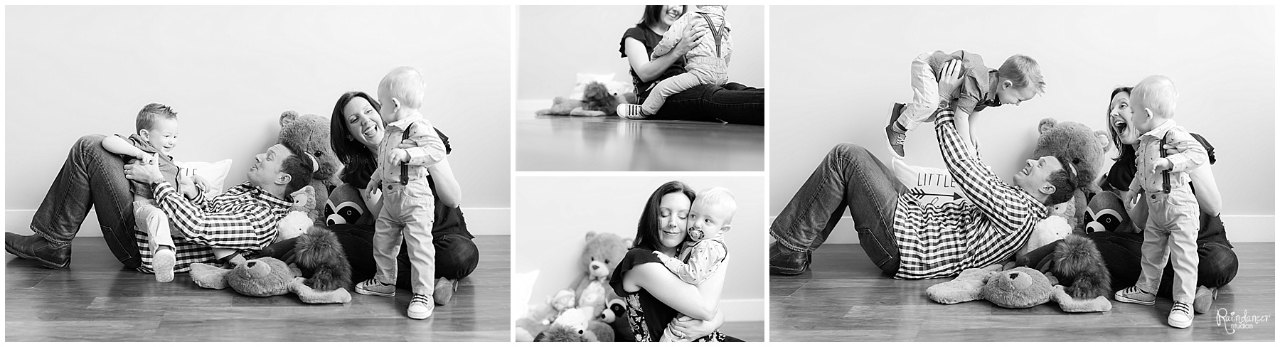 Parents and two sons sitting with stuffed toys by Raindancer Studios Indianapolis Family Photographer Jill Howelll