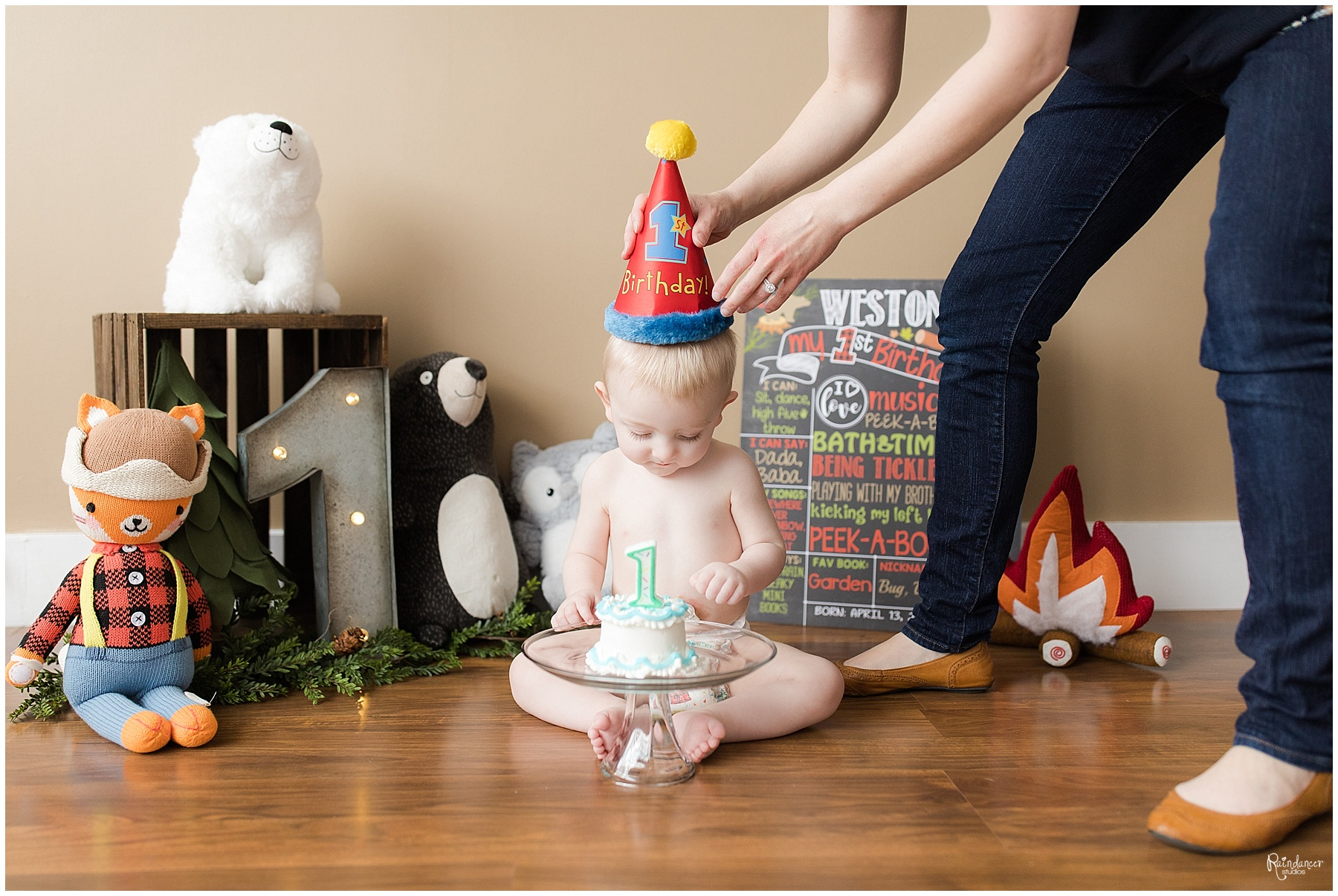 One year old baby boy enjoying his first birthday smash cake by Raindancer Studios Indianapolis Family Photographer Jill Howelll
