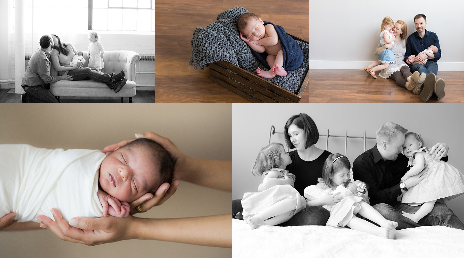 Newborn session preparation guide collage with 5 photo photos photographed in downtown Indianapolis studio.