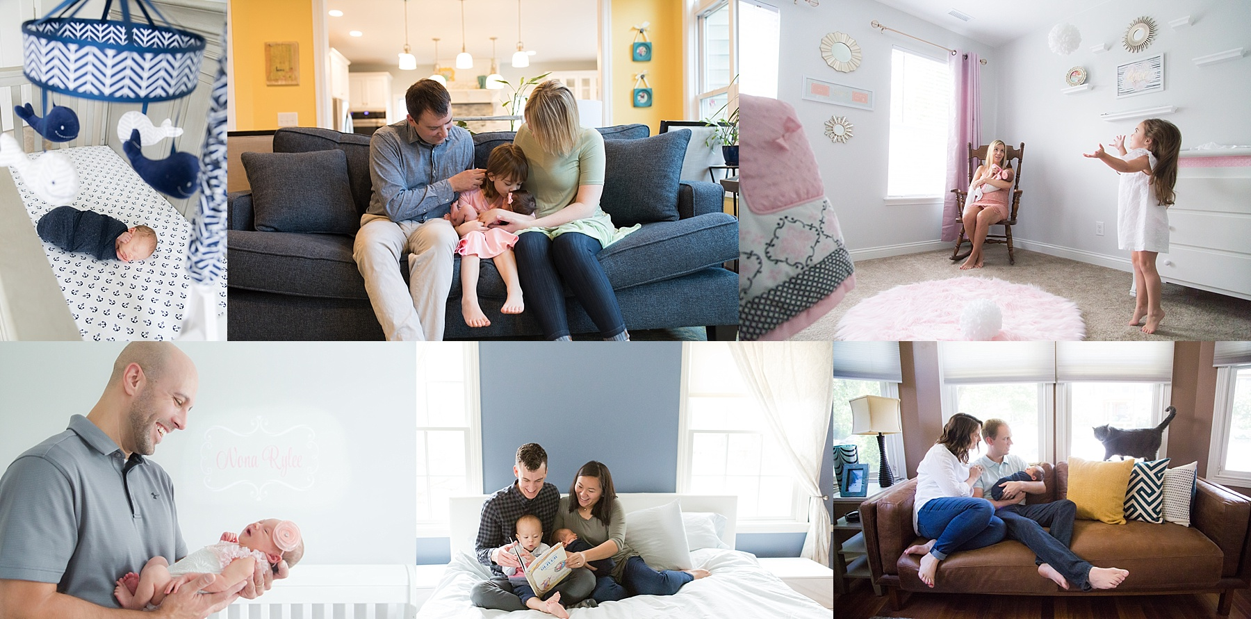 Lifestyle newborn photos taken at homes in Indianapolis displayed in newborn photo session preparation guide.
