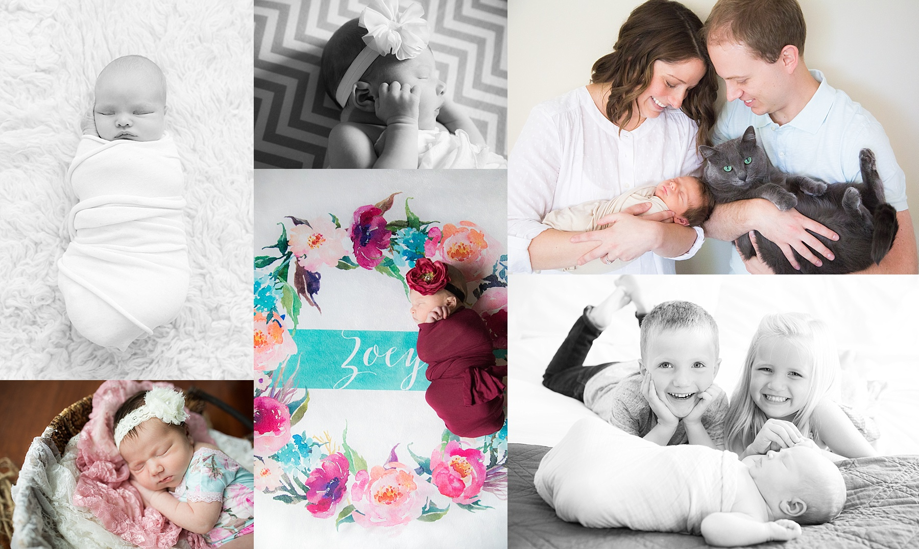 Newborn preparation guide displaying six photos taken in Indianapolis homes during lifestyle photo sessions.