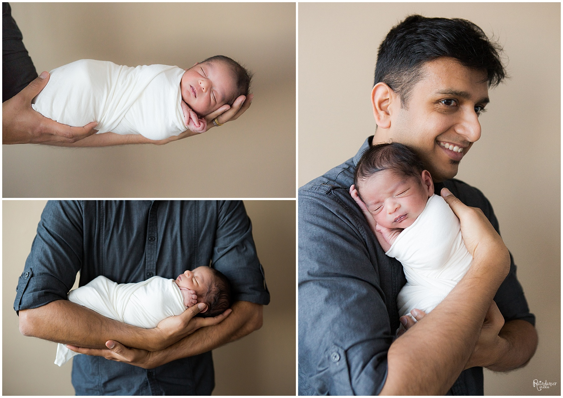 Father holding newborn baby boy in white swaddle by Raindancer Studios Indianapolis Newborn Photographer Jill Howell