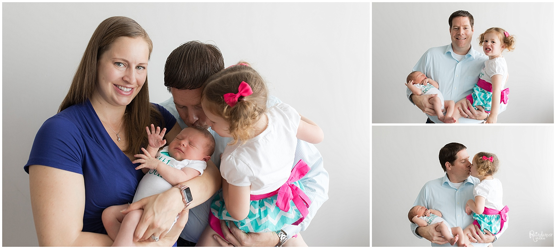 Parents holding their daughter and newborn son by Raindancer Studios Indianapolis Newborn Photographer Jill Howell