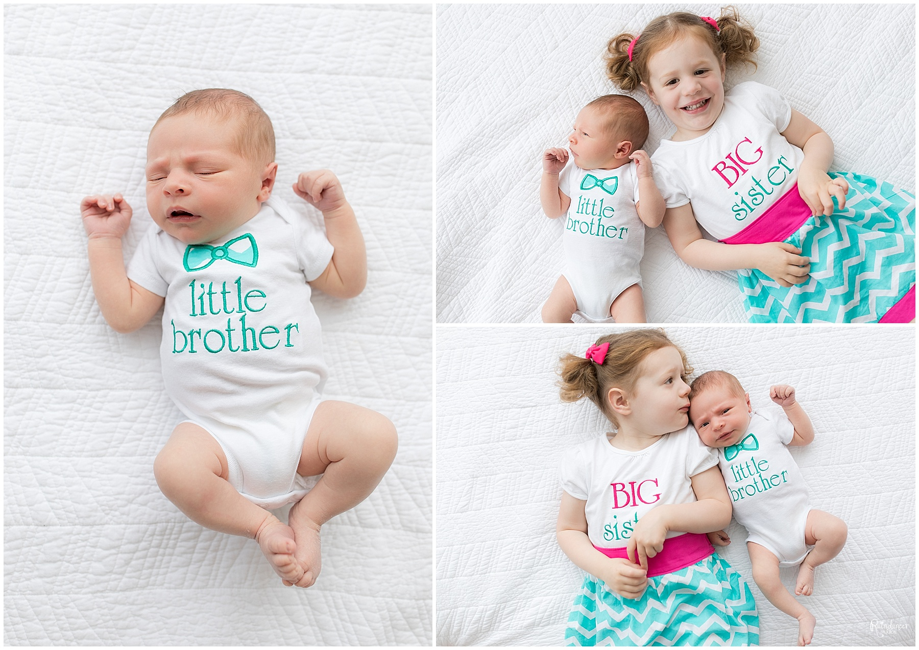 Big sister laying next to her newborn baby brother by Raindancer Studios Indianapolis Newborn Photographer Jill Howell