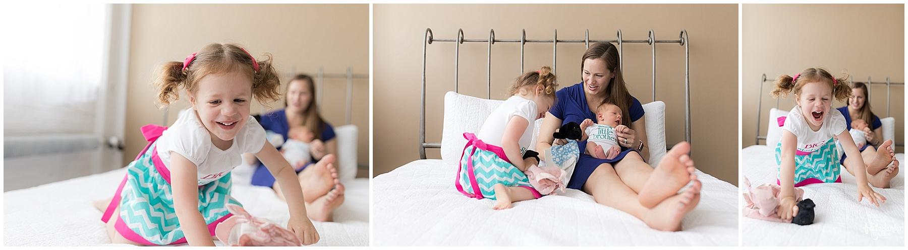 Mother playing with daughter and newborn baby boy on bed by Raindancer Studios Indianapolis Newborn Photographer Jill Howell