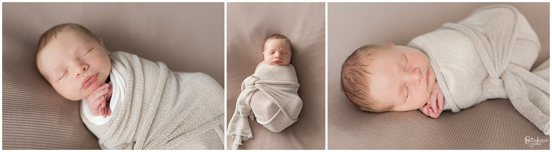 Newborn baby boy sleeping in cream swaddle by Raindancer Studios Indianapolis Newborn Photographer Jill Howell