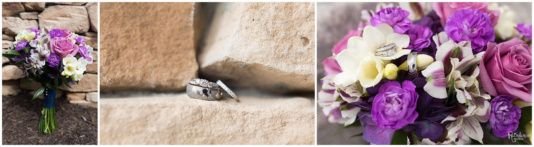 Wedding rings with bride bouquet by Raindancer Studios Indianapolis Wedding Photographer Jill Howell