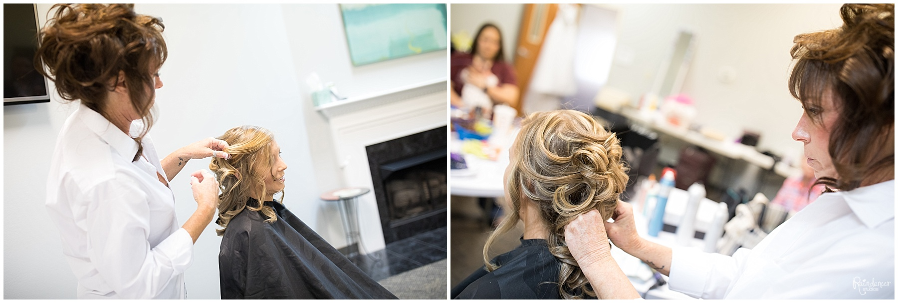 Bride getting her hair done by Raindancer Studios Indianapolis Wedding Photographer Jill Howell