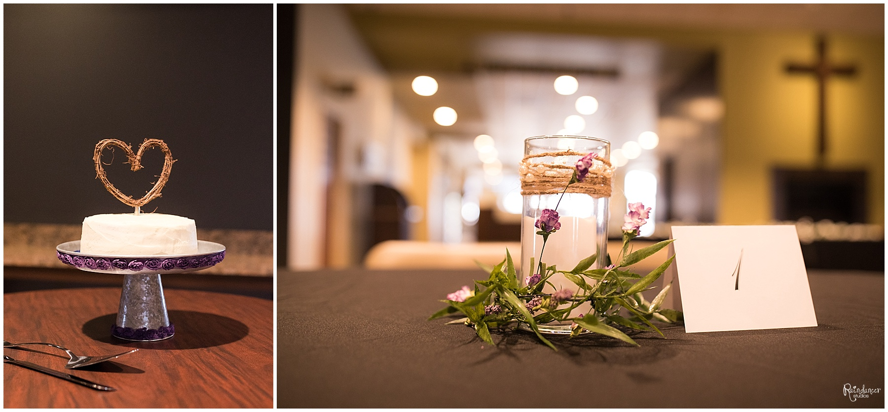 Wedding cake and table decorations by Raindancer Studios Indianapolis Wedding Photographer Jill Howell