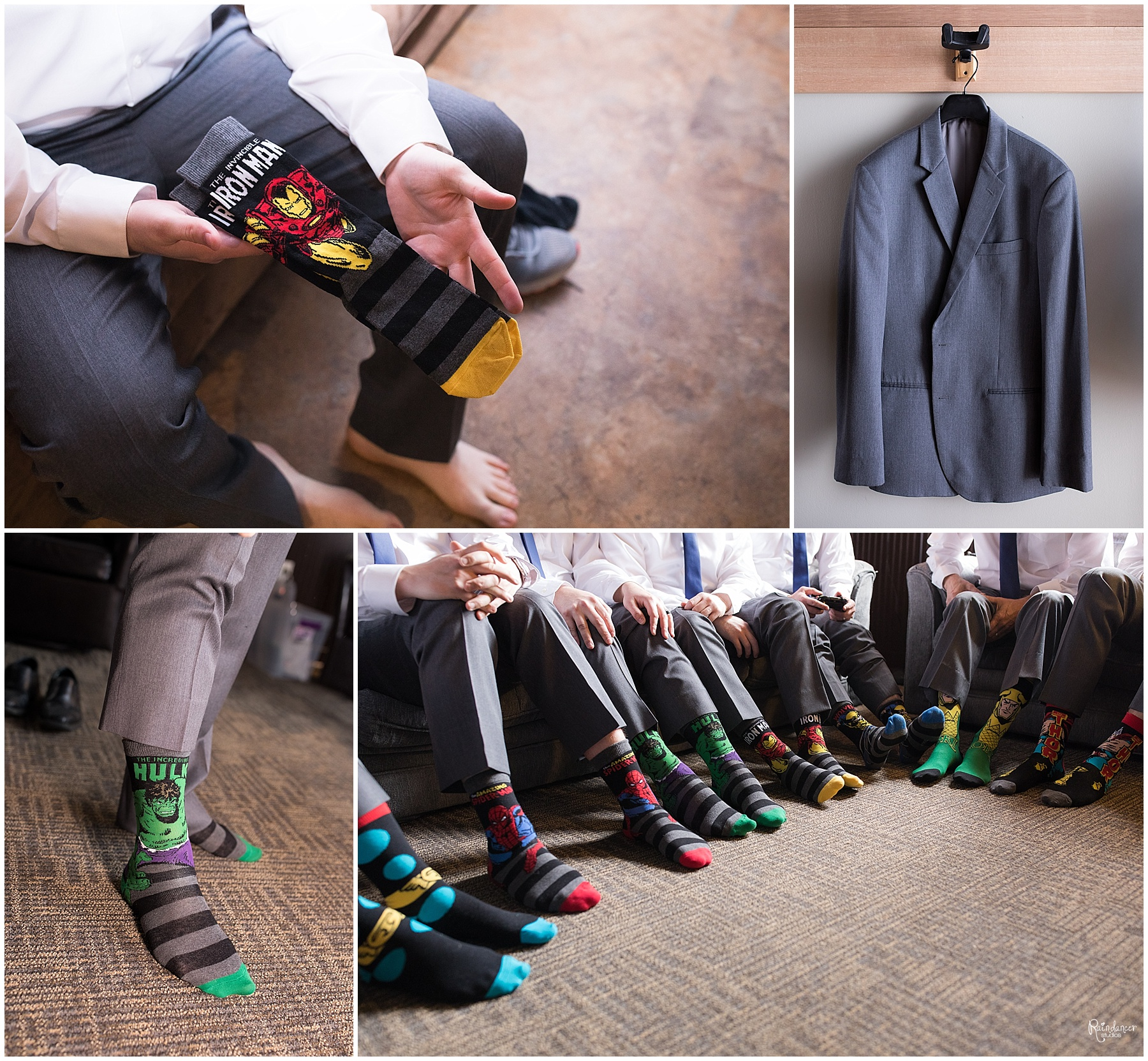 Groom and groomsmen in superhero socks by Indianapolis Wedding Photographer Jill Howell