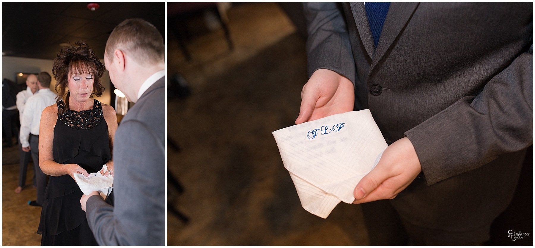 Mother of groom holding inscribed handkerchief by Indianapolis Wedding Photographer Jill Howell