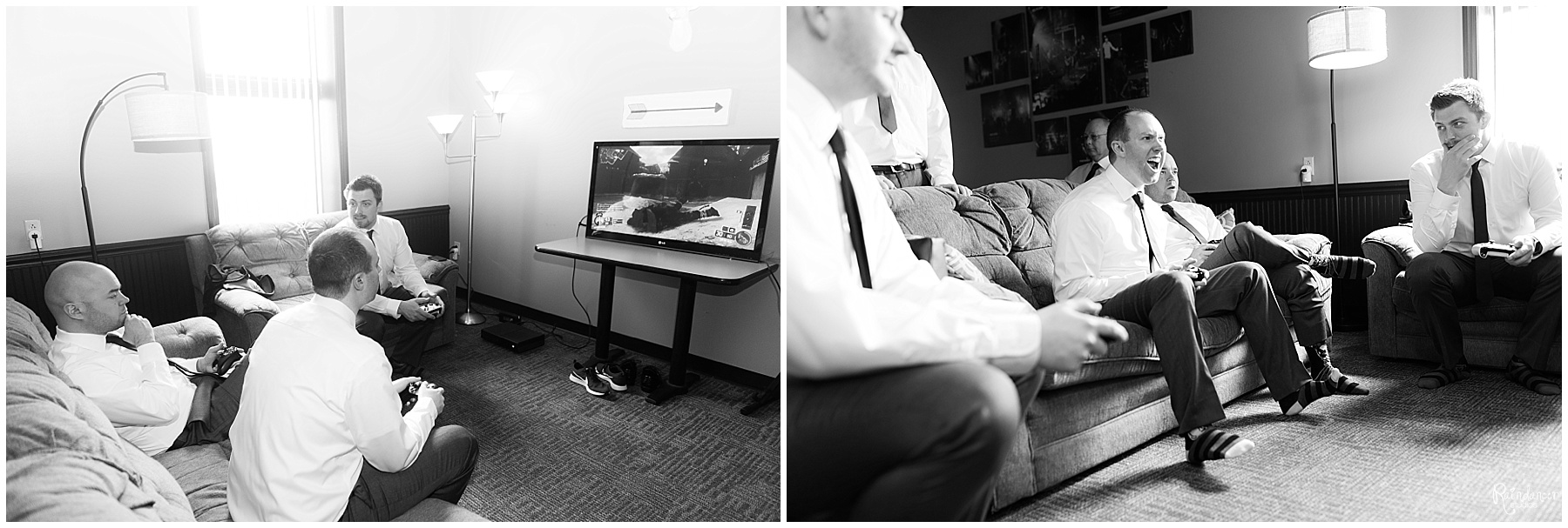 Groomsmen playing video games before the wedding by Raindancer Studios Wedding Photographer Jill Howell