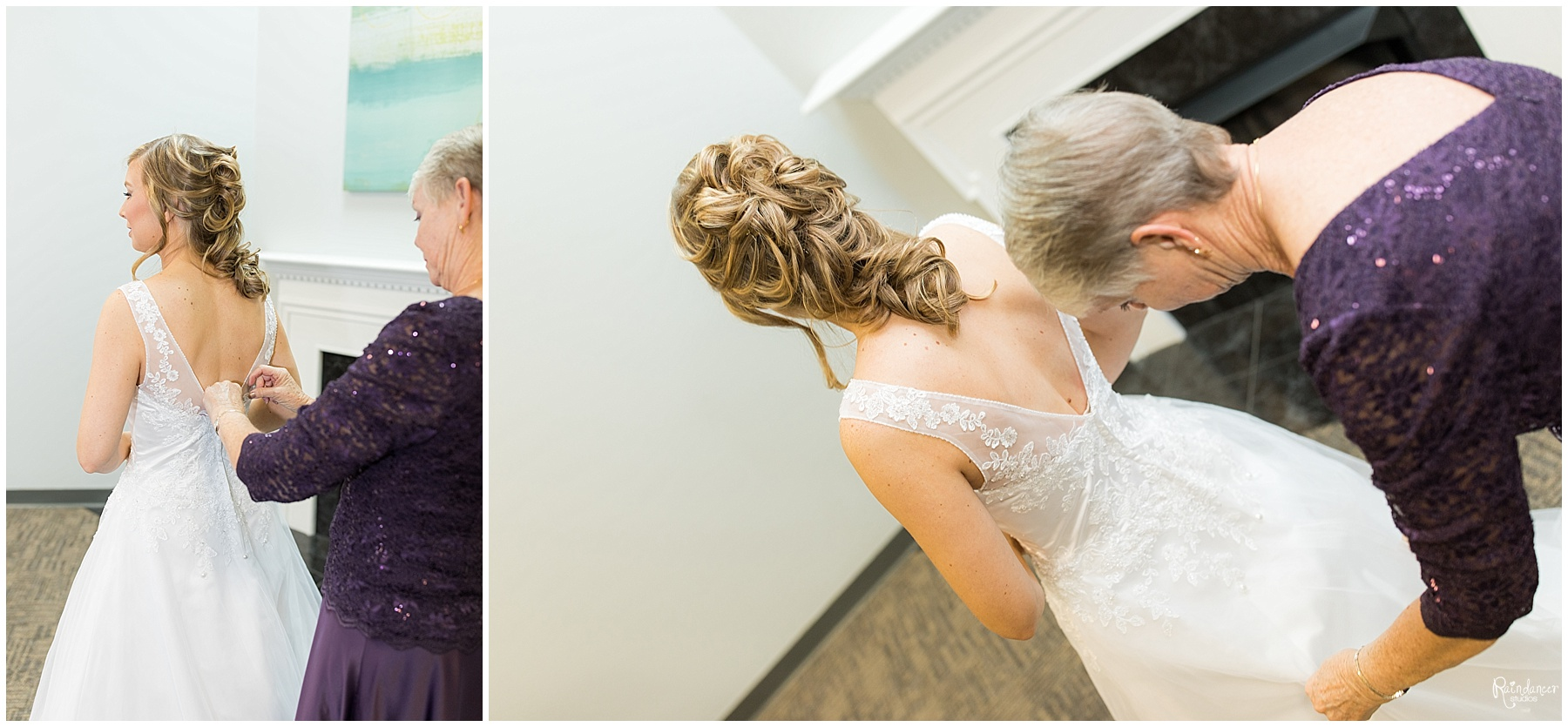 Mother of the bride helping her daughter into her wedding dress by Raindancer Studios Indianapolis Wedding Photographer Jill Howell