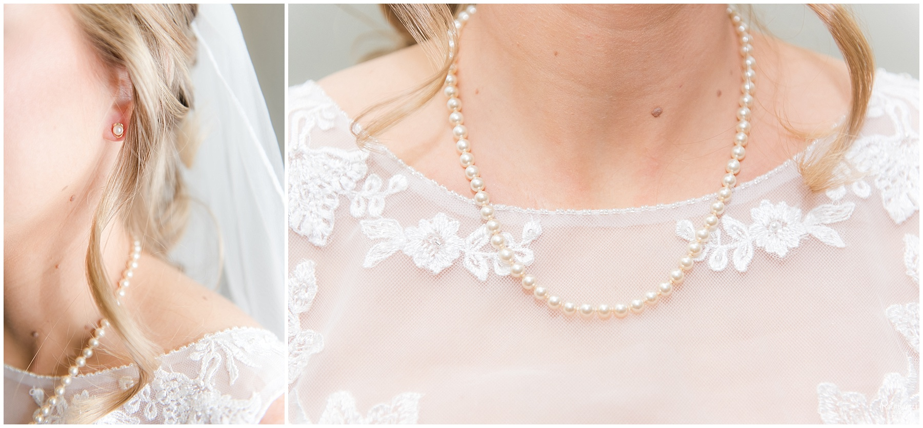 Brides pearls on her neck by Raindancer Studios Indianapolis Wedding Photographer Jill Howell