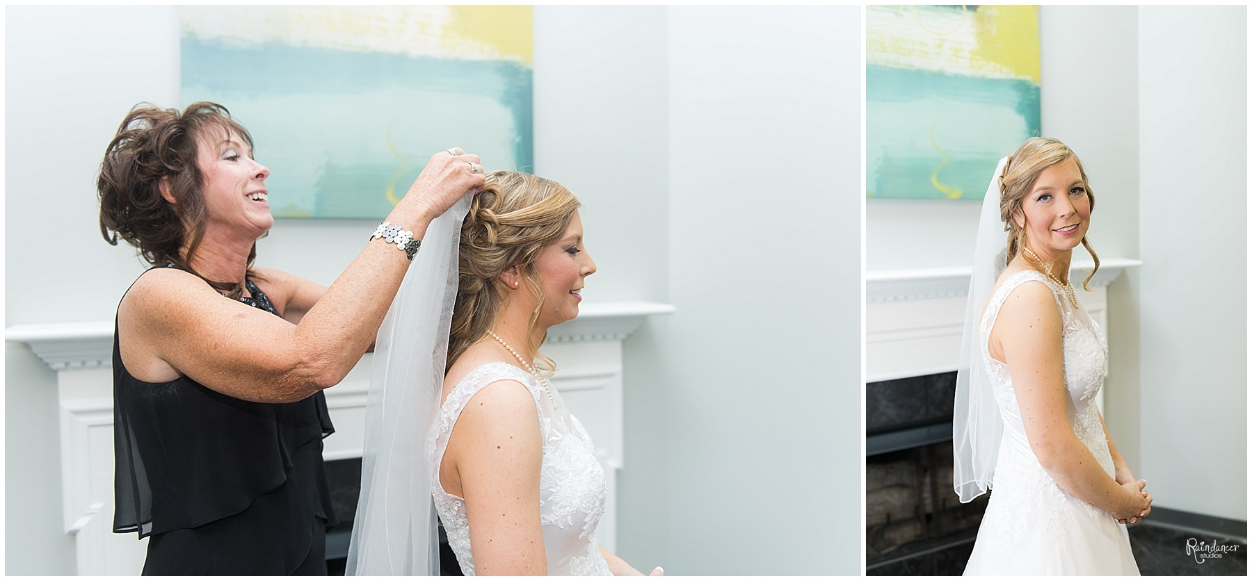 Mother of the groom putting brides veil on her by Raindancer Studios Indianapolis Wedding Photographer Jill Howell