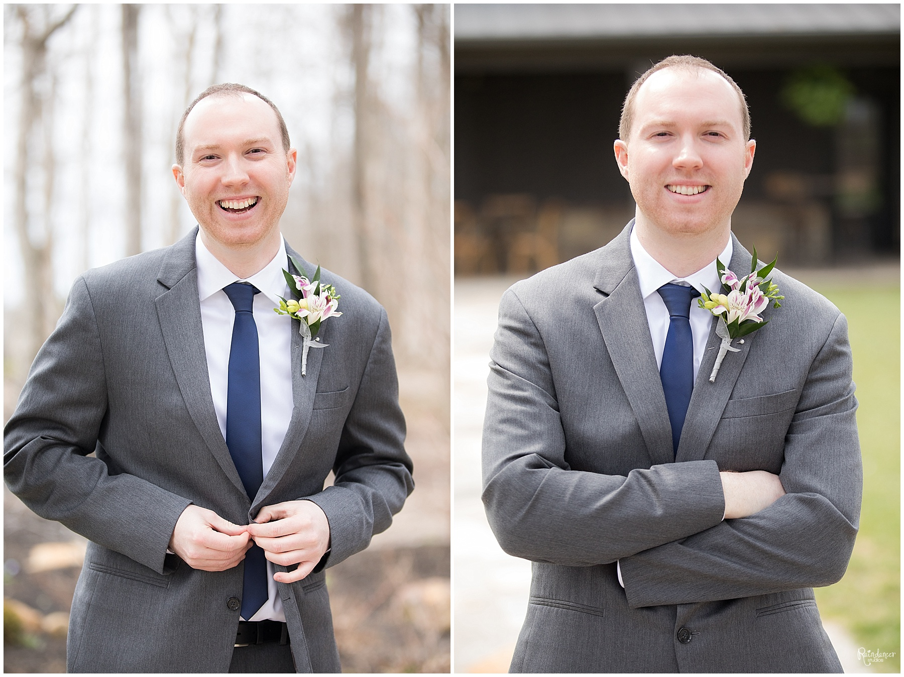 Smiling groom by Raindancer Studios Indianapolis Wedding Photographer Jill Howell