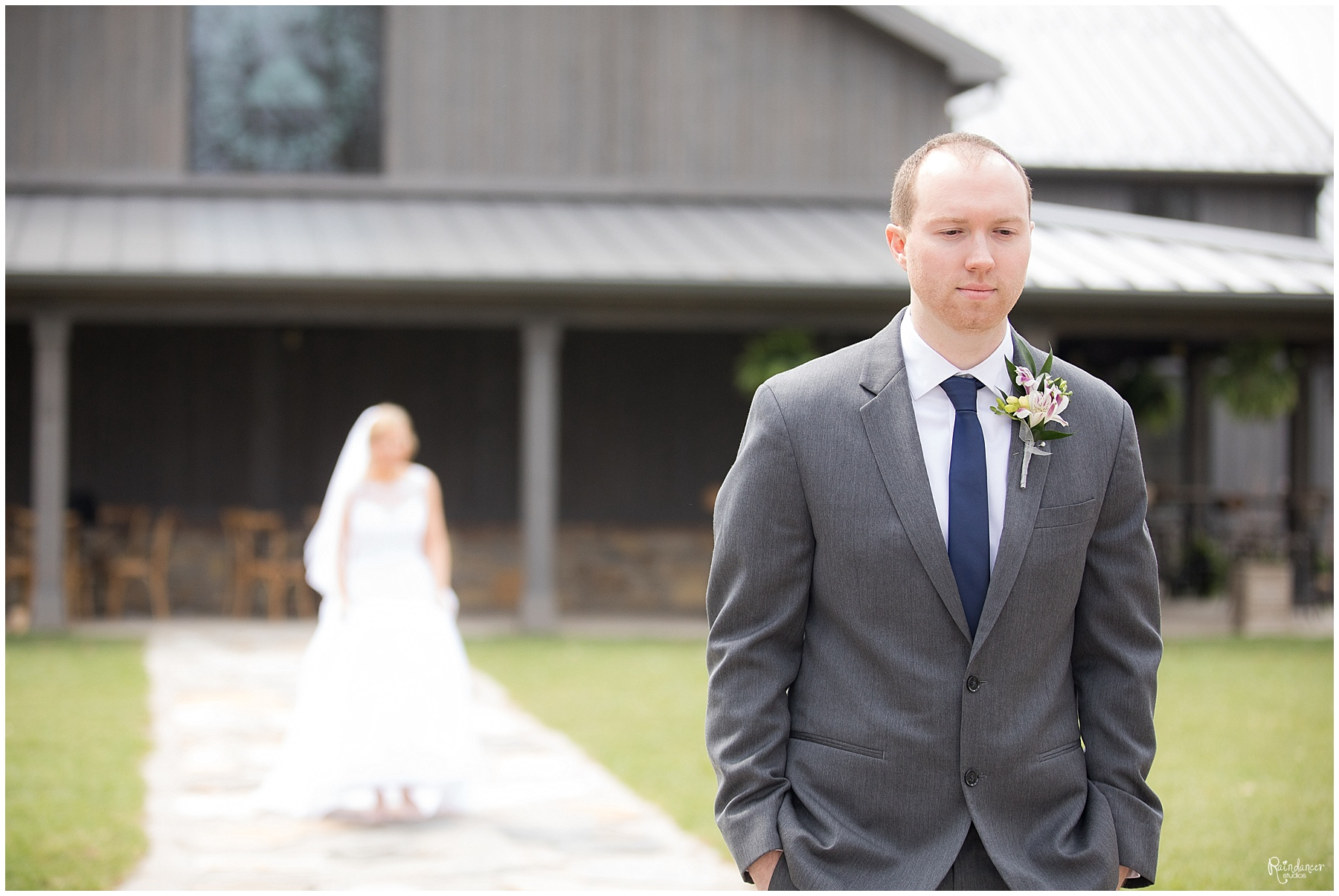 Bride walking up behind Groom by Raindancer Studios Indianapolis Wedding photographer Jill Howell
