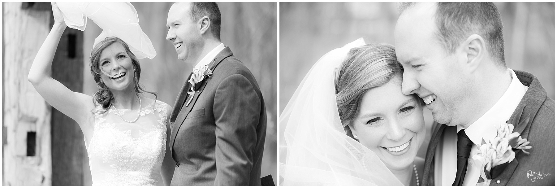 Bride and groom smiling by Raindancer Studios Indianapolis Wedding Photographer Jill Howell
