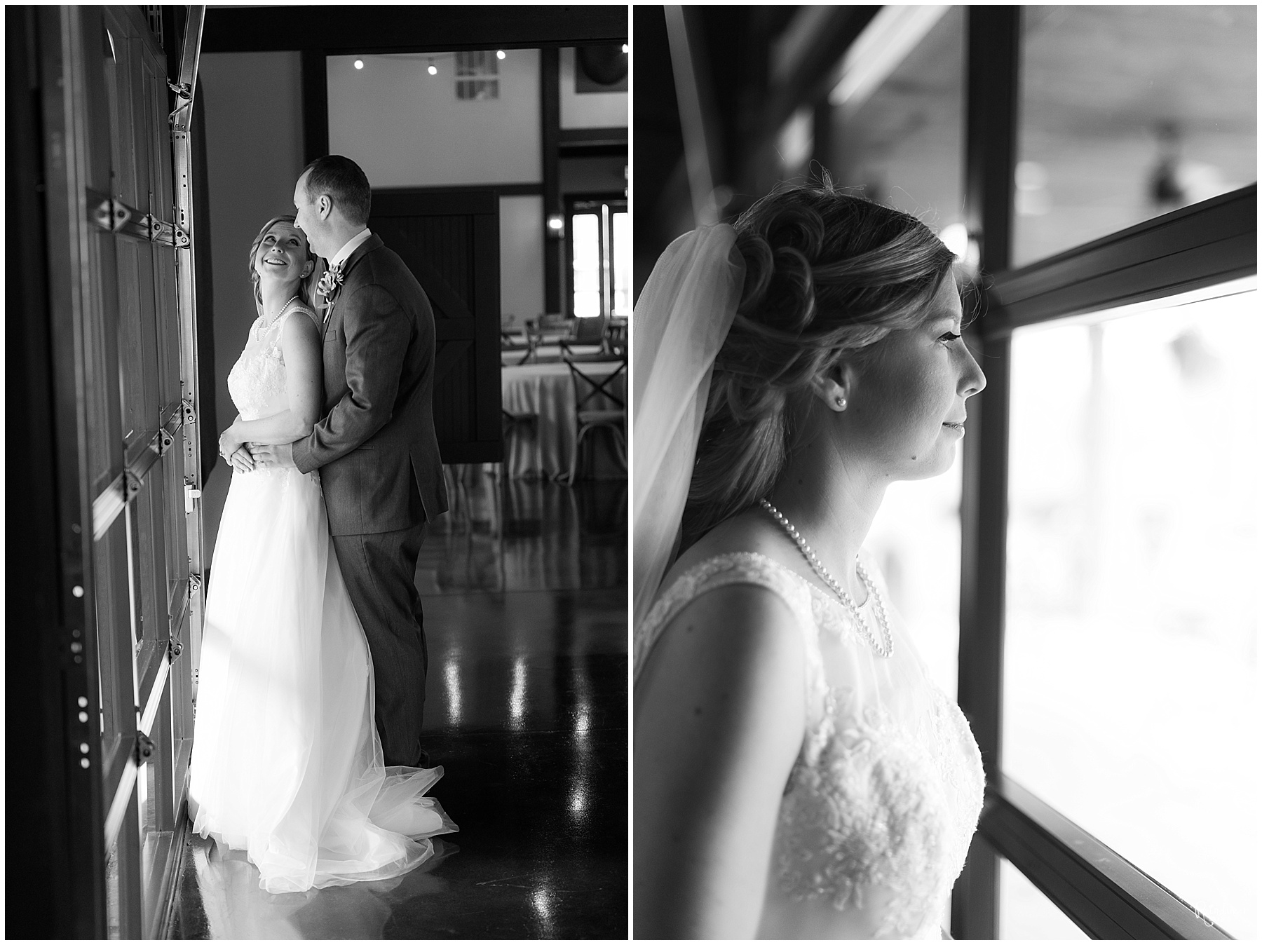 Bride and groom looking out window Raindancer Studios Indianapolis Wedding Photographer Jill Howell