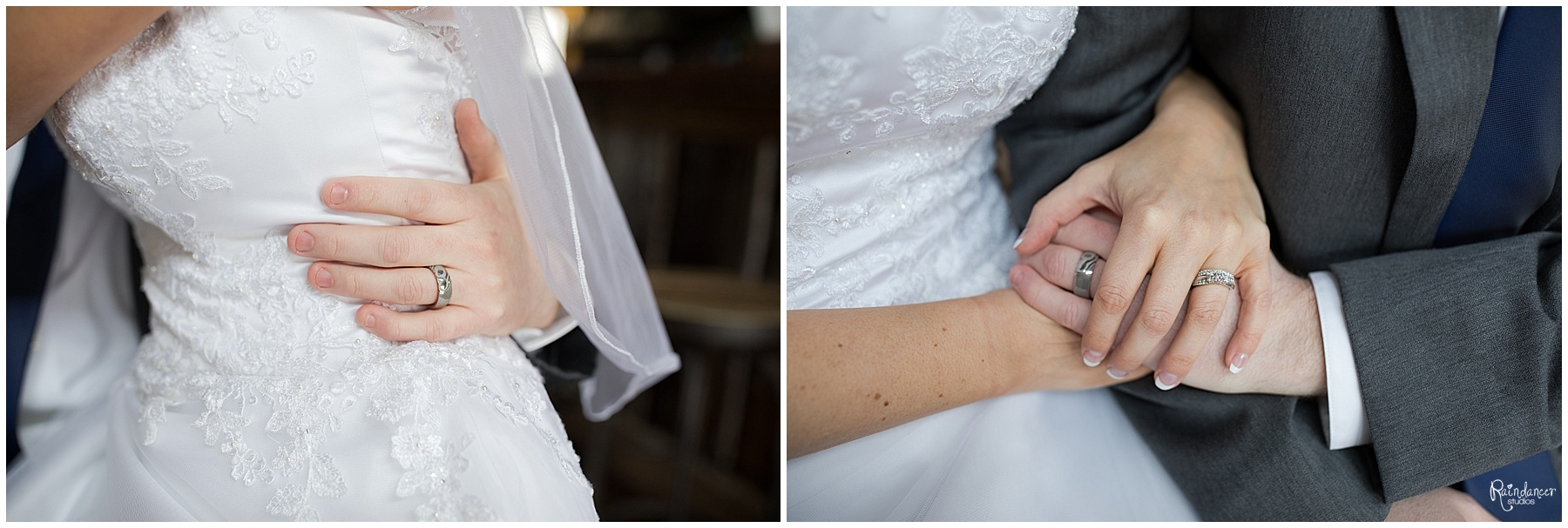 Groom holding brides hands by Raindancer Studios Indianapolis Wedding Photographer Jill Howell