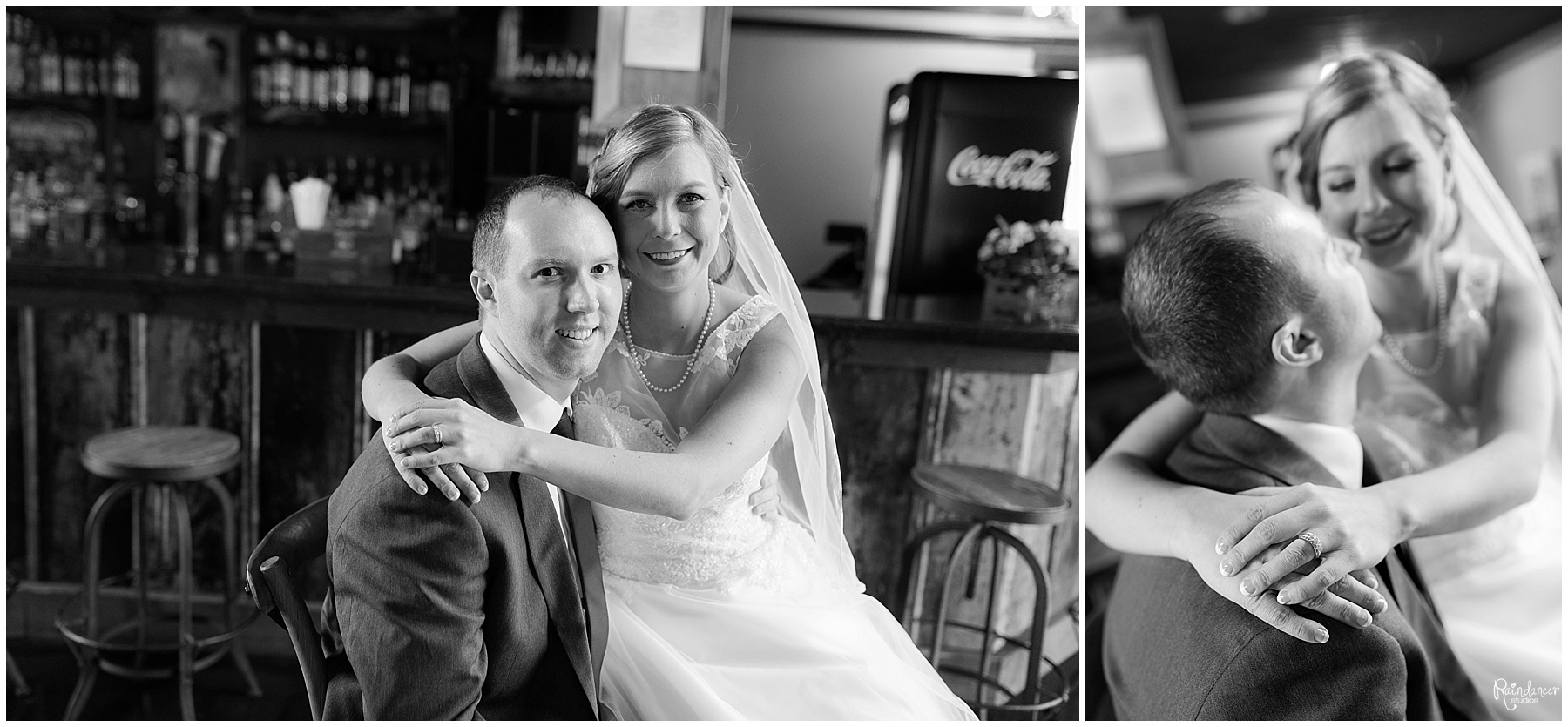 Bride sitting on grooms lap and hugging by Raindancer Studios Indianapolis Wedding Photographer Jill Howell