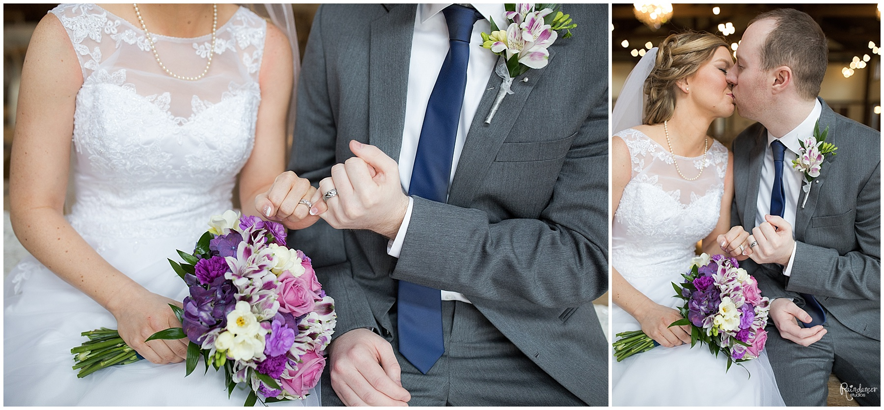 Bride and groom giving a pinky promise while kissing by Raindancer Studios Indianapolis Wedding Photographer Jill Howell