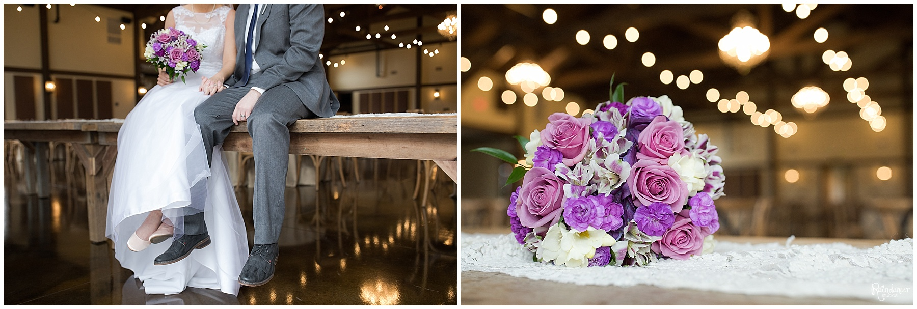 Bride and groom sitting together on table by Raindancer Studios Indianapolis Wedding photographer Jill Howell