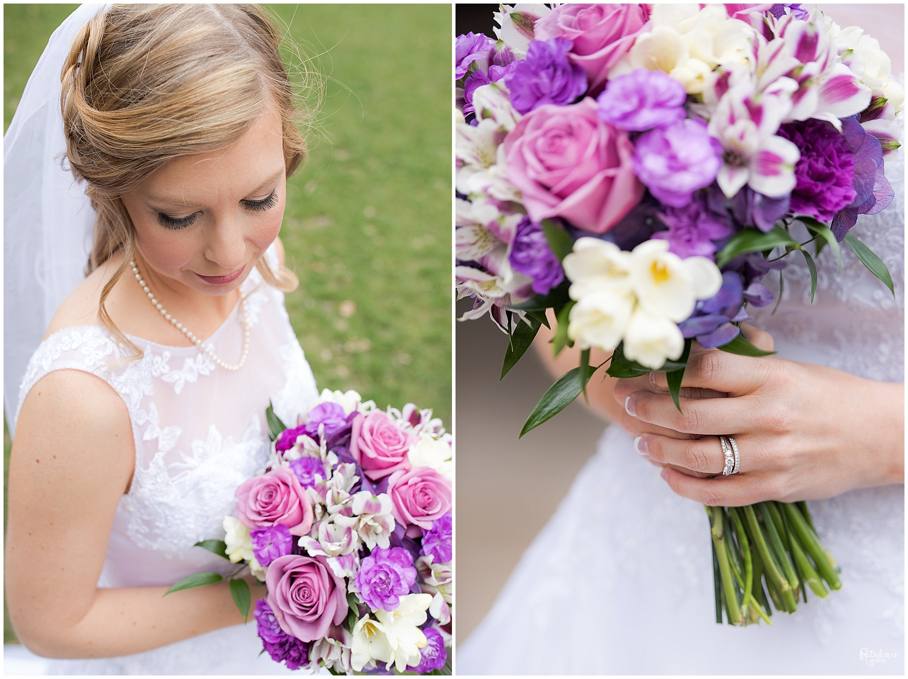 Bride outside holding her bouquet by Raindancer Studios Indianapolis Wedding Photographer Jill Howell