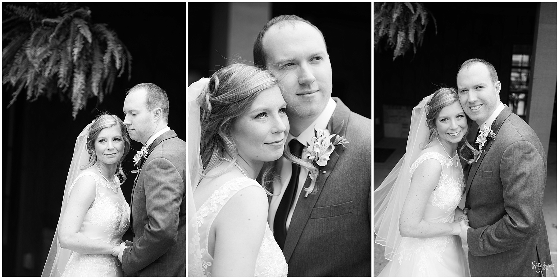 Bride and groom posing outside by Raindancer Studios Indianapolis Wedding Photographer Jill Howell