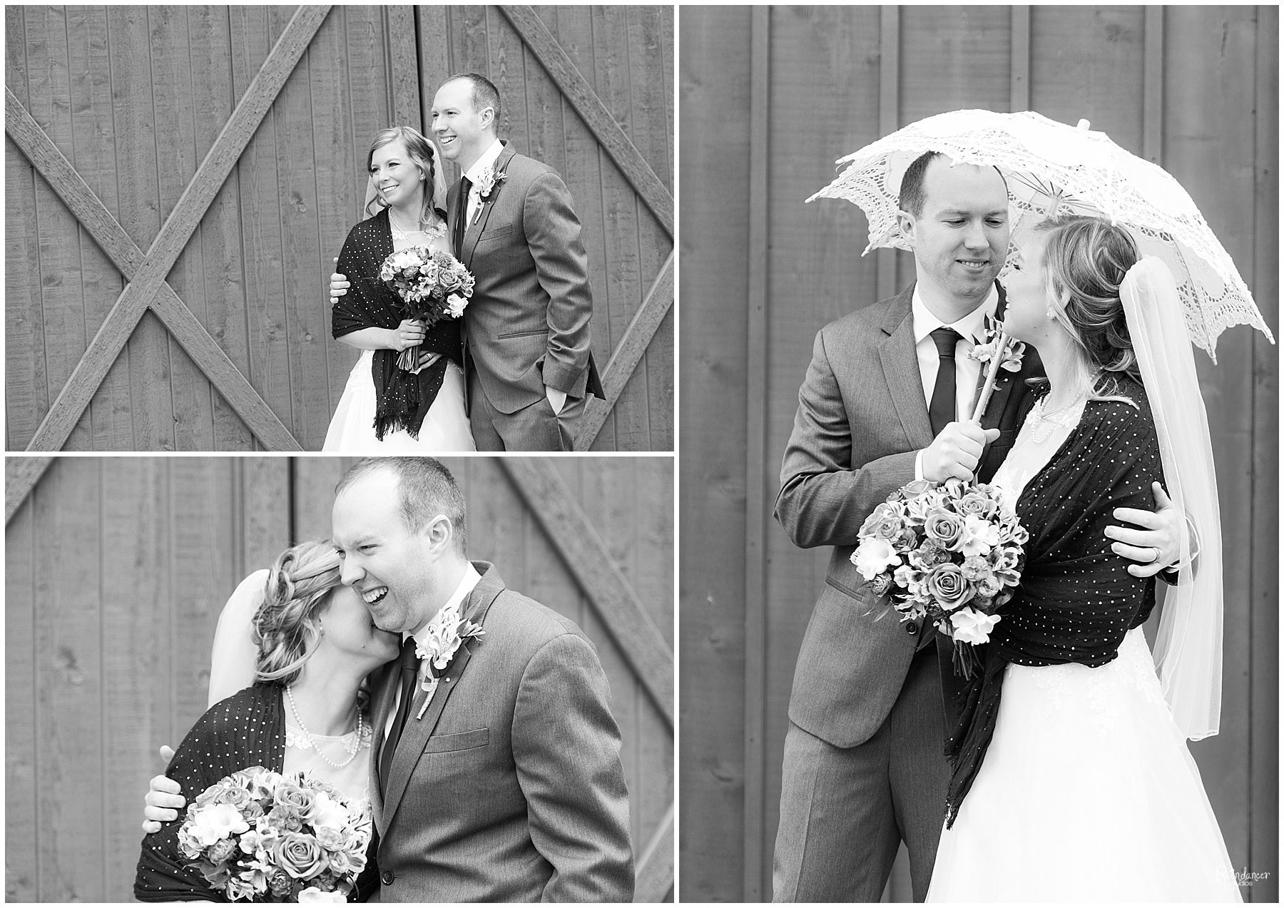 Bride holding parasol umbrella with groom by Raindancer Studios Indianapolis Wedding Photographer Jill Howell