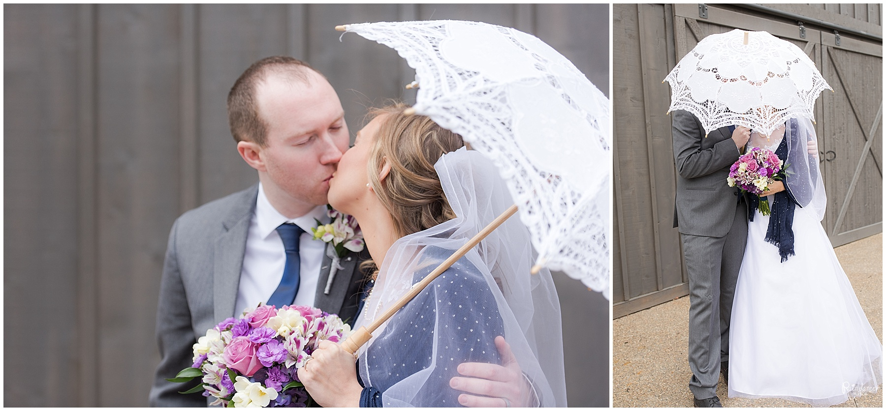 Bride and groom kissing under parasol umbrella with groom by Raindancer Studios Indianapolis Wedding Photographer Jill Howell