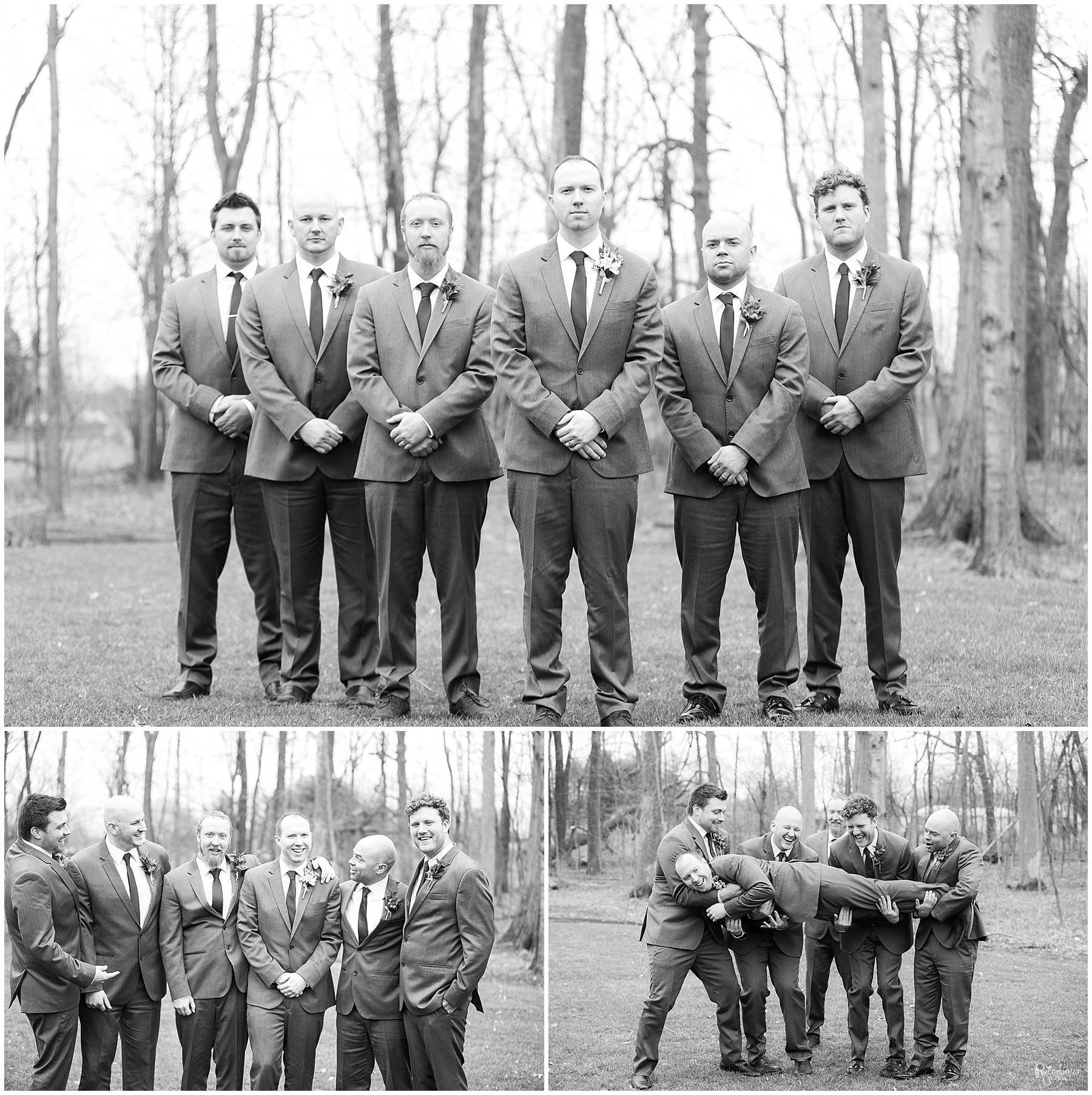 Groom with groomsmen by Raindancer Studios Indianapolis Wedding Photographer Jill Howell