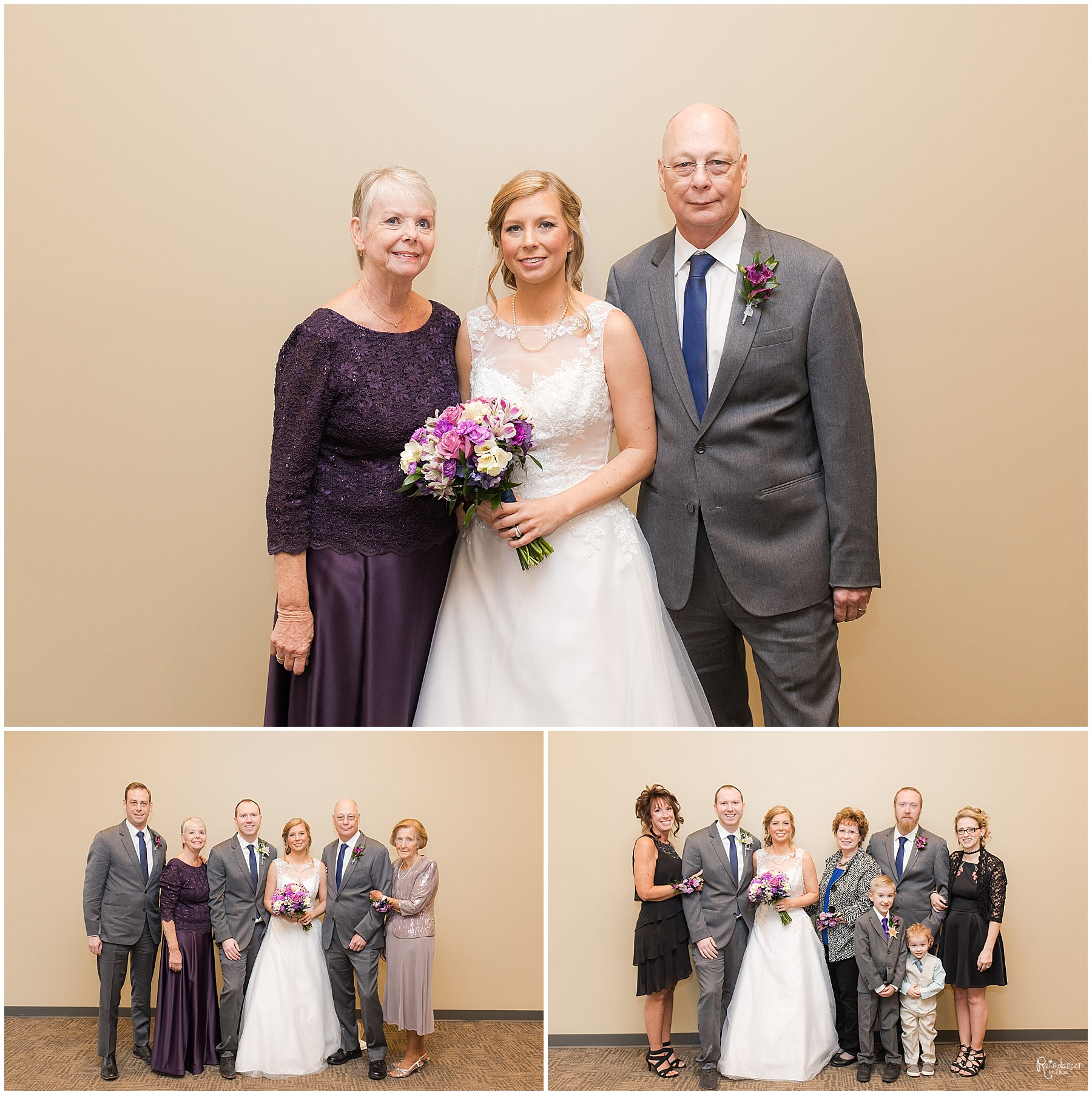 Bride with family by Raindancer Studios Indianapolis Wedding Photographer Jill Howell